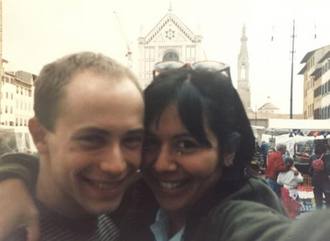 Sara Diaz '93 took a selfie of her and Jamie Kerman '93 with a bulky 35mm camera in front of Santa Croce, Florence. (Photo courtesy of Sara Diaz.)