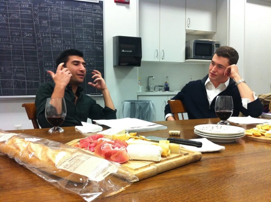 John Maher '12 and Robert Khederian '12 prepared a charcuterie board for the final day of the Michelangelo tutorial that brought them together. (Photo courtesy of Robert Khederian.)
