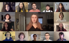 """Good Question A Cappella kicked off its virtual concert with a full-group rendition of """"Fireflies"""" by Owl City, one of several songs that the group worked on in the fall. (Cameron Pugh/The Williams Record)"""