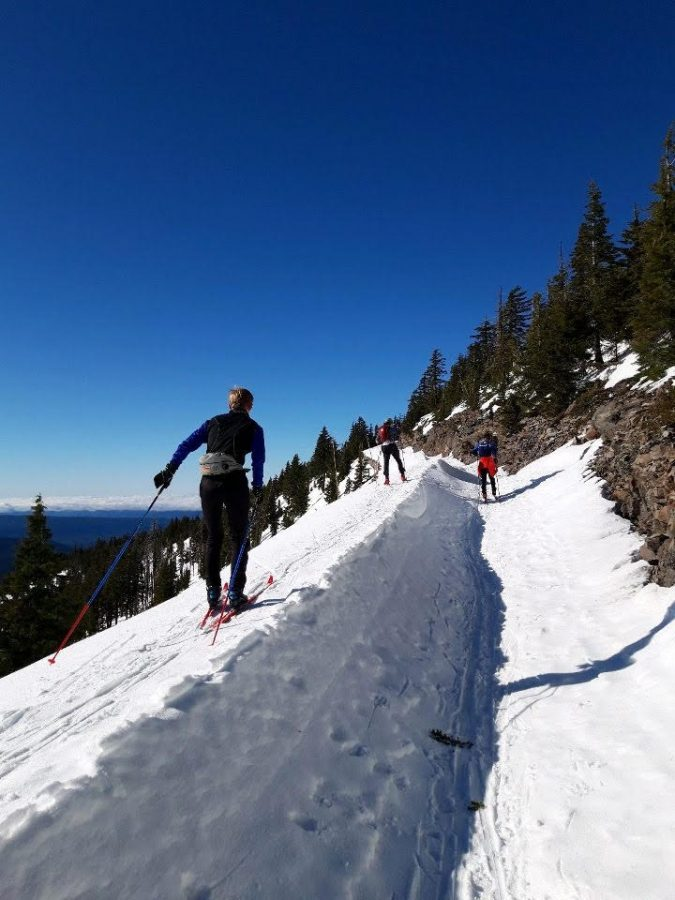 Some members of the Nordic ski team took advantage of the extended break to train together in Bend, Ore.. (Photo courtesy of Jakin Miller '24)