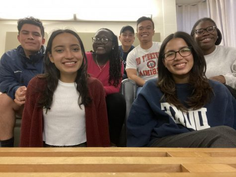 Seven sophomores picked into Mission this semester. From left to right: Brian Hernandez '23, Mariana Hernandez '23, Shiara Pyrrhus '23, Hector Hernandez '23, Kenneth Chiu '23, Karla Mercedes '23, and Morin Tinubu '23. (Photo courtesy of Karla Mercedes.)