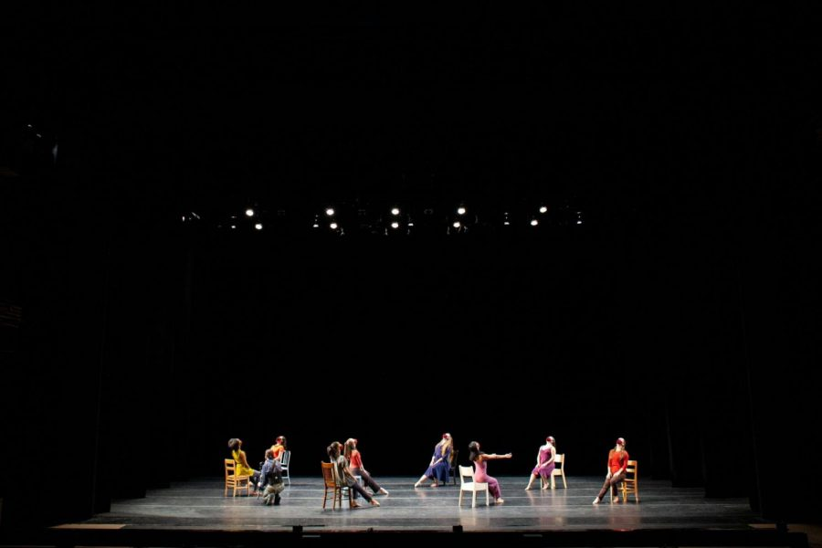 The group included 8 in person dancers and 5 remote dancers whose videos were virtually placed onto chairs in the final production of the film, after the performance was filmed. (Photo courtesy of Brad Wakoff.)