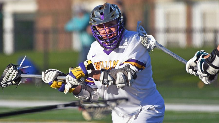 Led by Cory Lund '21, men's lacrosse emerged victorious against Hamilton on Saturday. (Photo courtesy of Sports Information.)