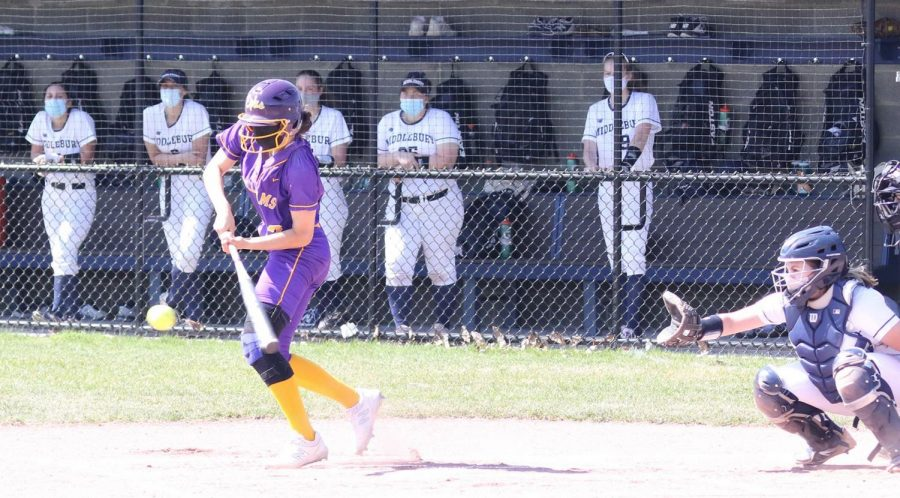Softball improved to 6-0 on the season with three wins against Middlebury. (Photo courtesy of Sports Information.)