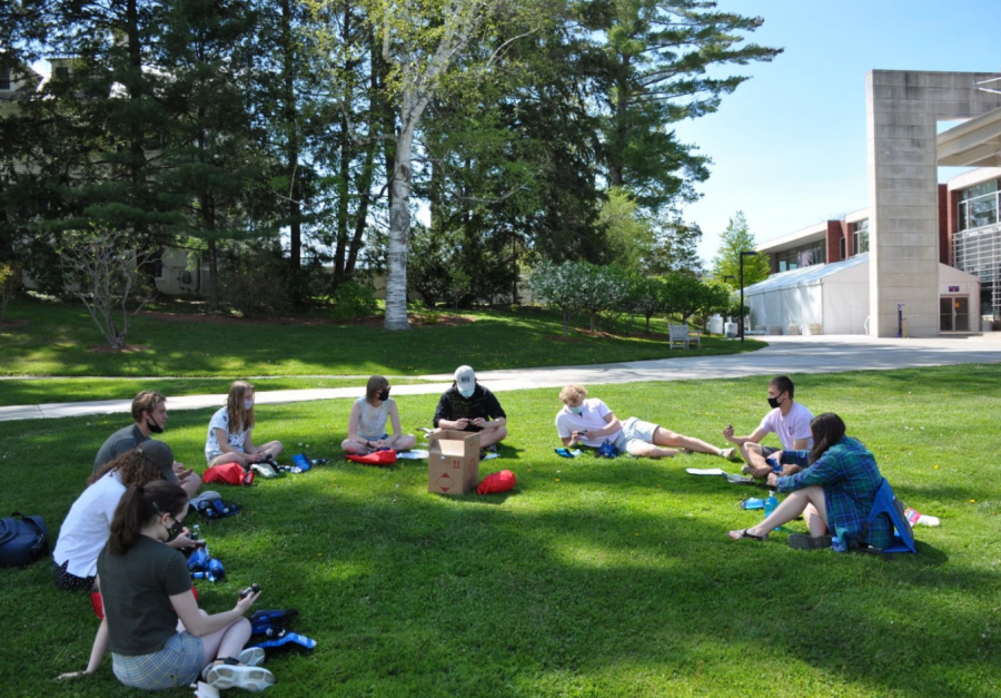WOOLF leaders who are currently on campus have met in person several times in small groups to learn the skills necessary for the trips. (Photo courtesy of Vince McNelis.)