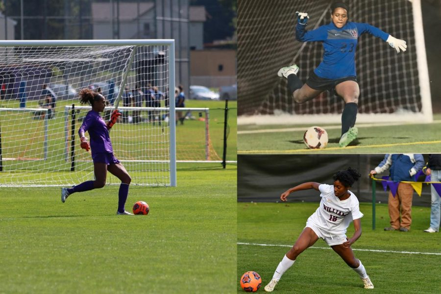 Whitney Lincoln '20 (left), Lindsay Avant '21 (top right), and Sydney Jones '21 (bottom right) spoke with the Record about their experiences as Black athletes on women's soccer. (Photos courtesy of Grace Byers, Lindsay Avant, and Kris Dufour.)