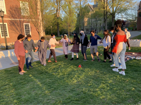 Students burst into impromptu dancing during Eid celebrations in front of Sawyer Library. (Photo courtesy of Mohammad Faizaan.)