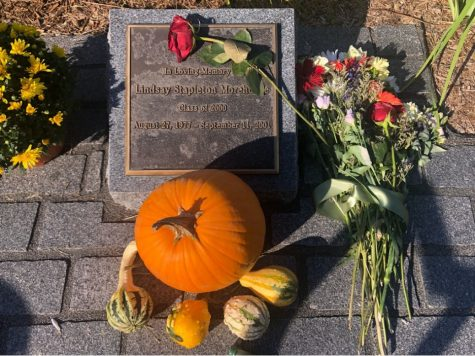 Located by the tennis courts is a memorial to Lindsay Morehouse '00, one of the three alums who died in the 9/11 attacks. (Irene Loewenson/The Williams Record.)