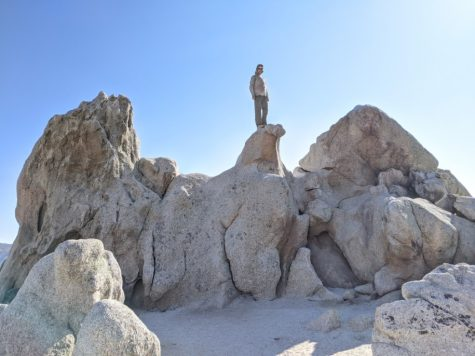 Jacob Lehmann Duke '24 stands atop Eagle Rock, a naturally occurring granite formation 150 miles along the Pacific Crest Trail. (Photo courtesy of Jacob Lehmann Duke.)