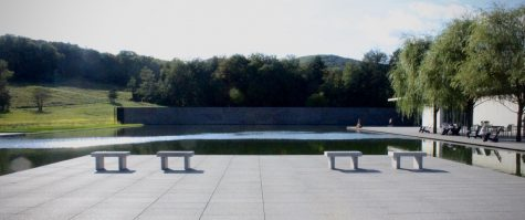 The Clark Art Museum Reflecting Pool, where the WTF production of [ITAL] Row took place this summer. (Taryn McLaughlin/The Williams Record)