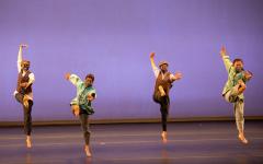 Student dancers (Beam Maskati, Keshini Cardozo, Sadie Fernandez, and Ashley Xu from left to right) perform Hidden Voices choreography. (Photo courtesy of Brad Wakoff.)